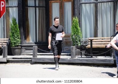 Goodwood, Ontario, Canada, June 11, 2018: On location `Schitt`s Creek` film rehearsal featuring Canadian actor, Daniel Levy.