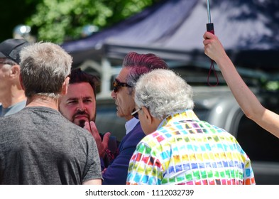 """Goodwood, Ontario, Canada, June 11, 2018: On location """"Schitt's Creek"""" film rehearsal featuring Canadian Actor, Eugene Levy."""