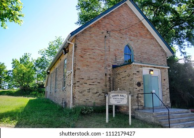 Goodwood, Ontario, Canada, June 11, 2018: The fictional Schitt's Creek Town Hall as featured in the Schitt`s Creek television series.