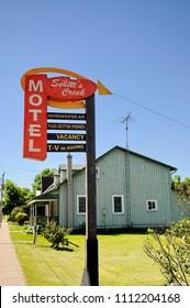 Goodwood, Ontario, Canada, June 11, 2018: The Schitt's Creek Motel sign as featured in the Schitt's Creek television series.