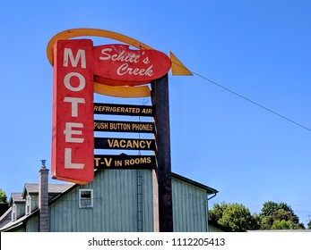 Goodwood, Ontario, Canada, June 11, 2018: The Schitt's Creek Motel sign as featured in the Schitt's Creek television series.