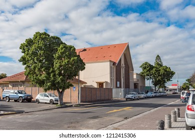 GOODWOOD, SOUTH AFRICA, AUGUST 14, 2018: A street scene with the Presbyterian Church in Goodwood in the Western Cape Province