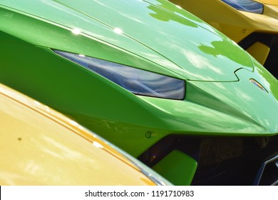 GOODWOOD, UK July 12, 2017: Green Lamborghini at the Goodwood Festival Of Speed