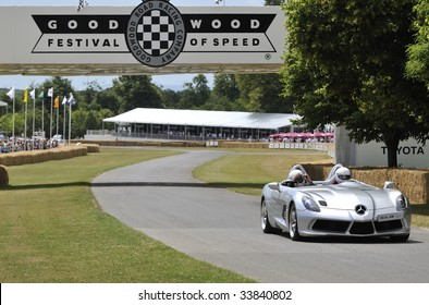 GOODWOOD, UNITED KINGDOM - JULY 3: Concept cabriolet MaClaren Mercedes SLR drives up the hill at the Goodwood Festival of Speed in the United Kingdom on July 3rd 2009