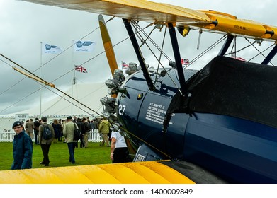 Goodwood, West Sussex, UK - September 08, 2017: A 1943 Boeing Stearman B75 on static display at Goodwood Revival 2017