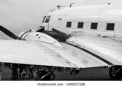 Goodwood, West Sussex, UK - September 08, 2017: A 1942 Douglas C53 Dakota on static display at Goodwood Revival 2017