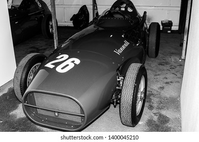 Goodwood, West Sussex, UK - September 08, 2017: A 1950's Vanwall CJ4 on static display at Goodwood Revival 2017