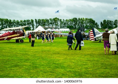 Goodwood, West Sussex, UK - September 08, 2017: Walking among the old planes at Goodwood Revival 2017