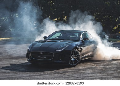 GOODWOOD, WEST SUSSEX/UK - JULY 12, 2018: Jaguar F-Type drifting for Jaguar Experience at Festival of Speed