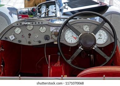 GOODWOOD, WEST SUSSEX/UK - SEPTEMBER 14 : Cockpit of Old Vintage Jaguar at Goodwood in Sussex on September 14, 2012