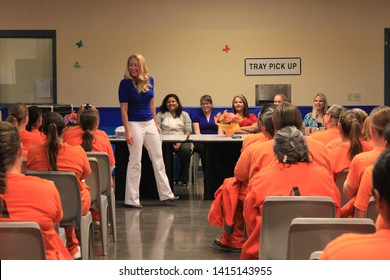 Goodyear, Ariz. / US - March 24, 2011: Olympic gold medalist Misty Hyman speaks to Perryville State Prison inmates about making a fresh start in life after their release from prison.