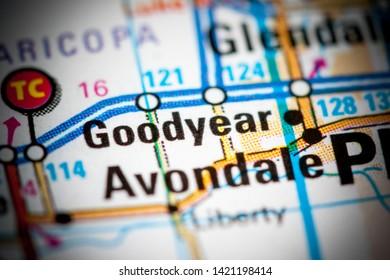 Goodyear. Arizona. USA on a map