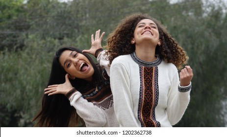 Goofy Excited Hispanic Female Teen Girl Friends