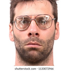 Goofy man with broken vintage glasses - Isolated on white
