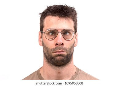 Goofy man with vintage glasses - Isolated on white