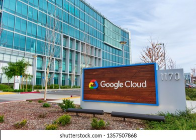 Google Cloud sign is displayed on Google campus in Silicon Valley - Sunnyvale, California, USA - March 31, 2019