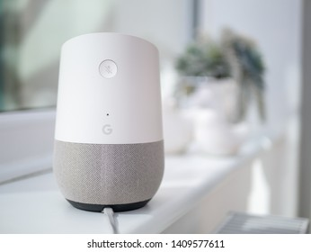 Google home on windowsill in home setting