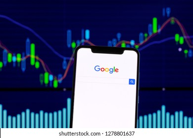 Google logo is seen on an smartphone over stock chart