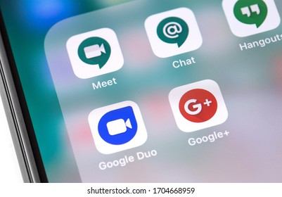 Google services. Google Duo, Meet, Chat, Hangouts apps icon on the screen smartphone. Google is an American multinational corporation. Moscow, Russia - November 28, 2019