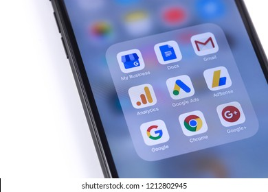 Google services icons on the screen smartphone. Moscow, Russia - October 26, 2018