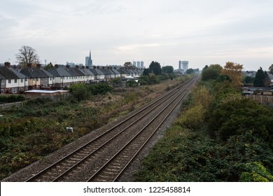 Goole skyline and train tracks with station