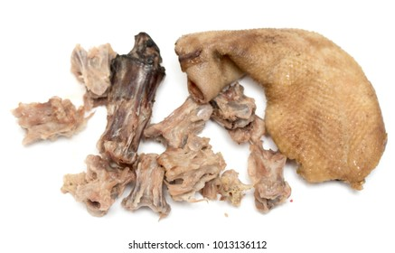 goose meat with bones eating on white background