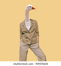 Goose. Vintage clothing. Art collage. Minimal fun