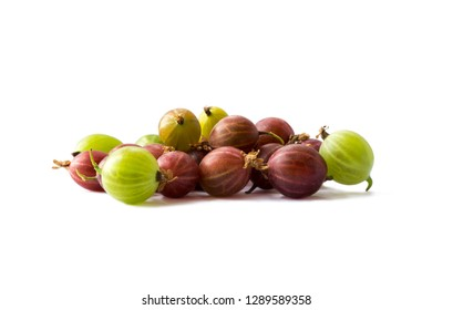 Gooseberries fruits on white background. Gooseberries isolated on white background. Red and green gooseberries in a bowl with copy space for text. Ripe gooseberry close-up. Background berry.