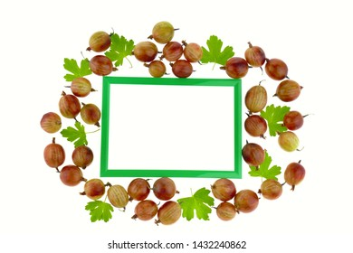 Gooseberry. Berry frame. Green frame with  gooseberries and green leaves isolated on white background. Gooseberry Season.top view, copy space