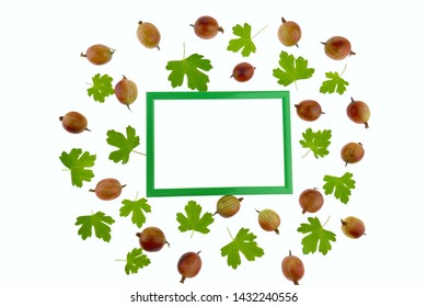 Gooseberry. Berry frame. Green frame with ripe gooseberries and green leaves isolated on white background. Gooseberry Season.top view, copy space
