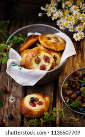 Gooseberry and cottage cheese  Filled Buns. .style rustic. selective focus