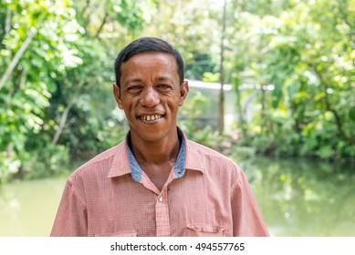 Gopalgonj, Bangladesh - September 19, 2016: simple man of the village stands at Gopalgonj, Bangladesh