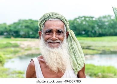 Gopalgonj, Bangladesh - September 20, 2016: simple man of the village stands at Gopalgonj, Bangladesh