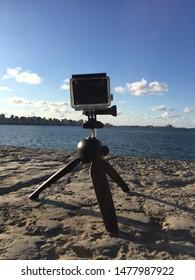 GoPro 4 Camera on a small tripod pointed towards the sea - location Alexandria - egypt  14/12/2016