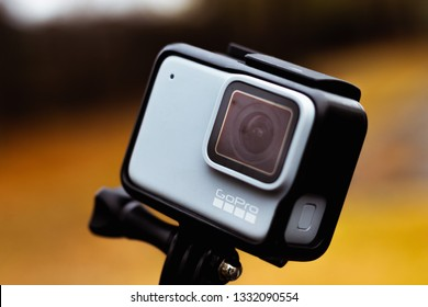 GoPro Hero 7 White action camera in housing outdoors in nature Baton Rouge, Louisiana USA - December 31, 2018