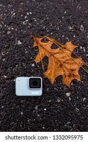 GoPro Hero 7 White in a fall setting with leaves Baton Rouge, Louisiana USA - December 31 2018