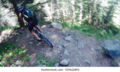 GoPro image of a mountain biker descending a track in Chamonix Valley, France