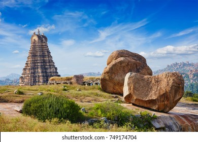 Gopura (or gopuram) tower of Virupaksha Temple. Hampi, Karnataka, India