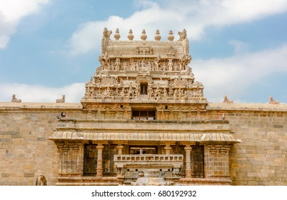 The gopuram or entrance tower of the Airavatesvara Temple, Hindu temple of Dravidian architecture dedicated to Lord Shiva, located in the town of Darasuram, South of India.