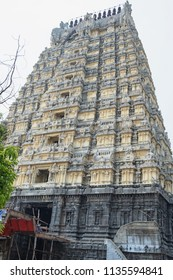 The Gopuram, or gateway tower, at the entrance to the 9th century Ekambareswarar temple at Kanchipuram in Tamil Nadu. Consisting of 11 storeys it is 55 metres high and is one of the tallest in Asia