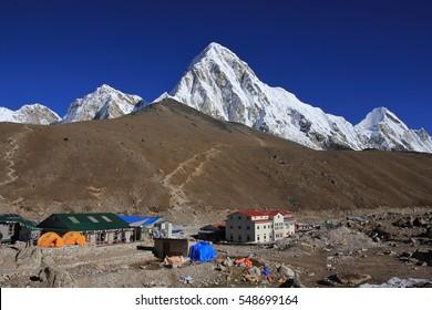 Gorak Shep, Kala Patthar and snow covered mount Pumori. Last settlement before the Everest base camp. Popular view point Kala Patthar.