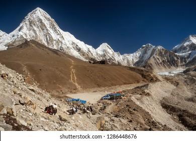 Gorak Shep - the last village before the Everest base camp. Mountains Pumori and Kala Patthar