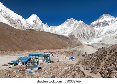 GORAK SHEP, NEPAL, 12th NOVEMBER 2014 - Gorak Shep village, mount Pumo Ri and Kala Patthar, way to Kala Patthar and Mount Everest base camp, Sagarmatha national park, Khumbu valley, Nepal