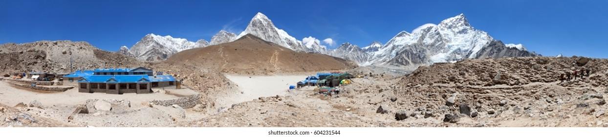 GORAK SHEP, NEPAL, 25th NOVEMBER 2014 - Panoramic view of Gorak Shep village an sherpas, Mount Kala Patthar, Pumo Ri, Nuptse and others, Sagarmatha national park, Khumbu valley, Nepal