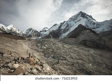 GORAK SHEP, NEPAL - NOVEMBER 2, 2012: The final stretch of the Khumbu Glacier before hiking into Mt Everest Base Camp