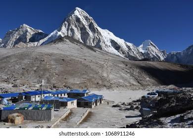 Gorak Shep and Pumori in the background, Nepal