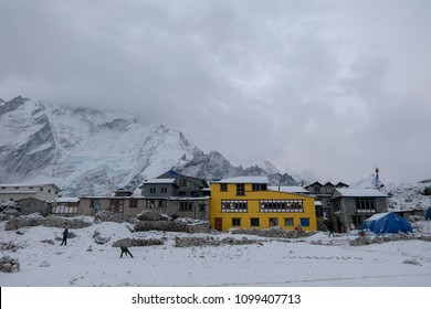 Gorak shep village is covered by snow and cloud