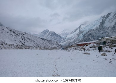 Gorak shep village to EBC route covered by snow and cloud