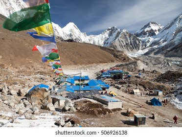 Gorak Shep village with prayer flags, way to Kala Patthar and Mount Everest base camp, Sagarmatha national park, Khumbu valley, Nepal