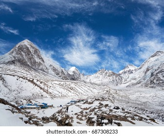 Gorak Shep village and Pumori peak view - Himalaya Mountain landscape in Sagarmatha National Park, Everest region, Nepal, Himalayas